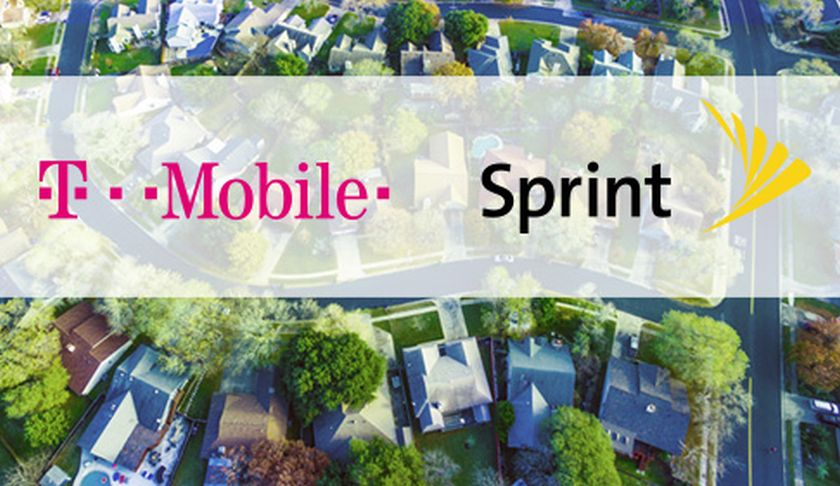 image of T-Mobile and Sprint logos above houses