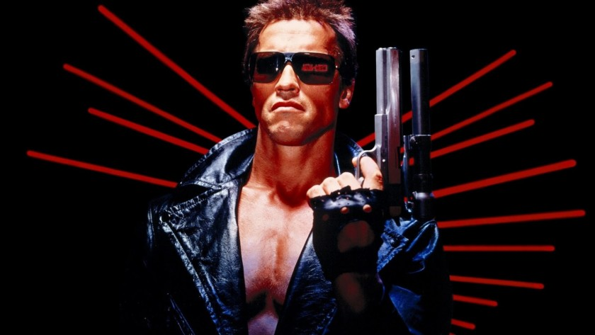 An image of Arnold Schwarzenegger in his iconic role as The Terminator.