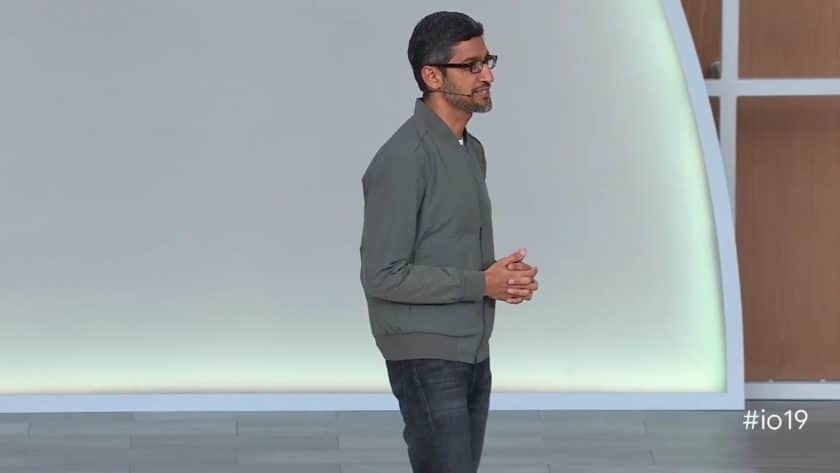 An image of Sundar Pichai at Google I/O 2019
