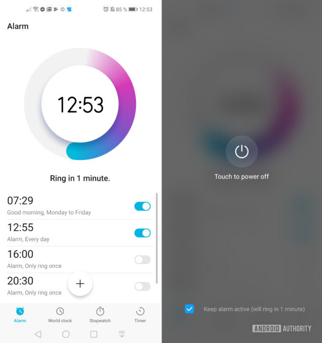android alarm settings side-by-side screenshot