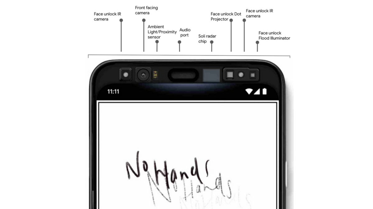 Front sensors on the Google Pixel 4.