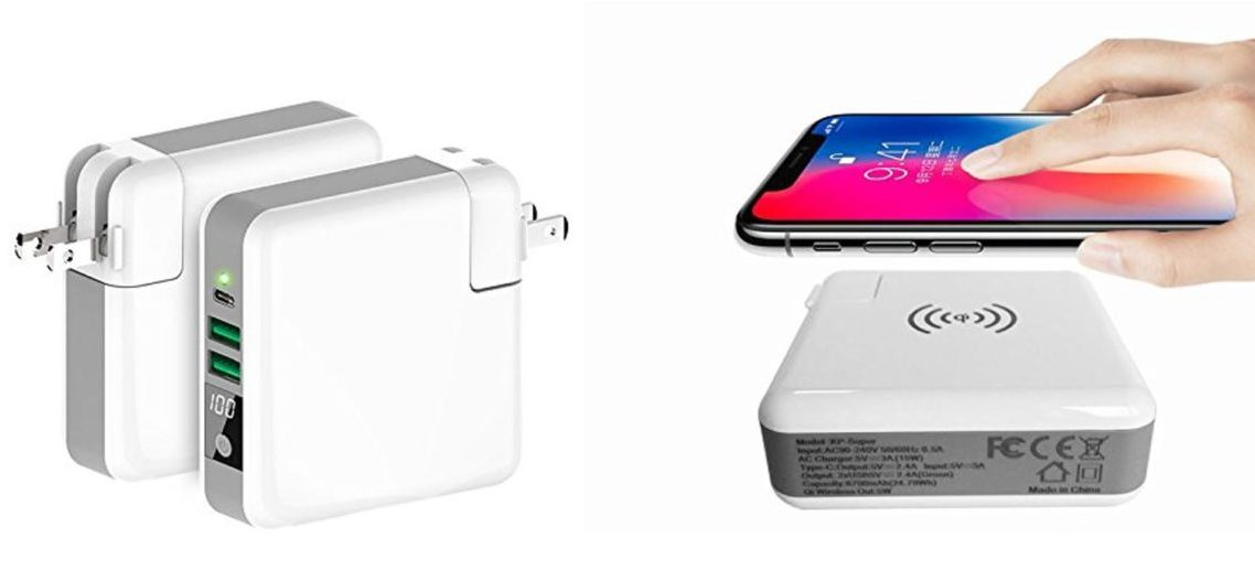 This all-in-one charger is a wireless charger and a power bank