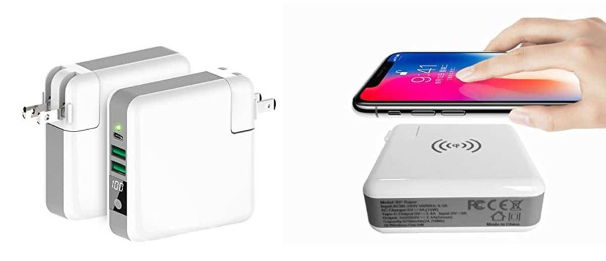 Three-port Charger with Qi Enabled Wireless Charger and Power Bank